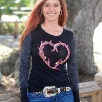 Black long sleeve Antler Heart shirt