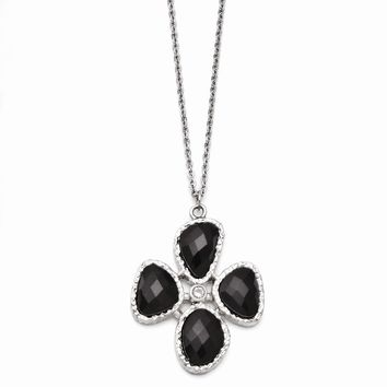 Onyx & Synthetic Cz Flower Pendant Necklace in Stainless Steel - Lobster Claw