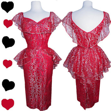Dress Vintage 80s 50s RED Metallic Silver LACE Peplum Party PROM Dress M Pinup Ruffle