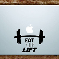 Eat Sleep Lift Laptop Apple Macbook Quote Wall Decal Sticker Art Vinyl Gym Work Out Weights Dumbbell Fitness Inspirational