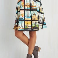 Travel Mid-length A-line Around the World in Katie Days Skirt