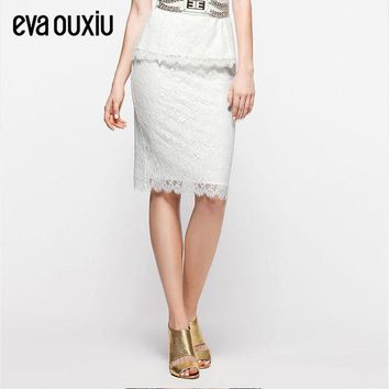 CREYHY3 Evaouxiu Women Elegant Lace Slim Knee-length Midi Skirt Formal Pencil Skirt Summer Autumn Office Lady Split Skirt White