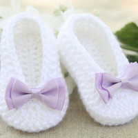 Crochet Baby Ballet Slippers - Crochet Baby Booties - White Baby Ballet Flats - Handmade Fashion Baby Shoes Booties - MADE TO ORDER