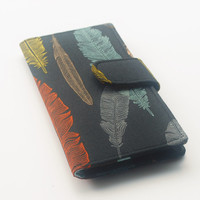 Handmade Wallet, Womens Clutch Wallet, Vegan Wallet, Feathers, Black