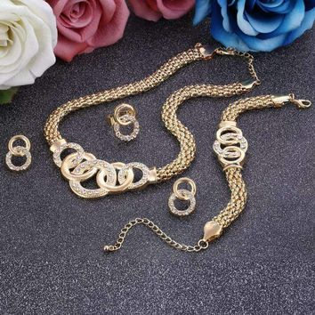 Bridal Costume Jewelry Sets For Femme Womens Jewelry Set African Gold Jewelry Set Earrings Necklace Ring Set 4Pcs