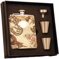 Visol Floral Paisley Pattern 6 oz Deluxe Flask Gift Set
