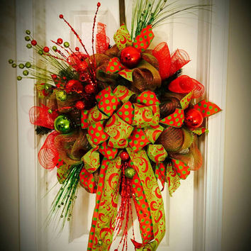 Christmas wreath made with deco mesh.