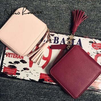 Women Patent Leather Small handy Wallet With Tassel Charm