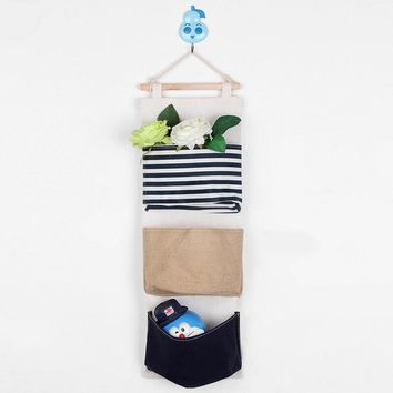 9 Color Wall Sundry Fabric Cotton 3 Pocket Hanging Holder Storage Bag Rack makeup Cosmetic organizer storage basket box AU 233