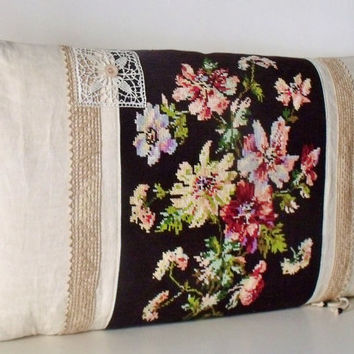 Vintage French Large Tapestry Needlepoint Floral bouquet French lace Antique Linen Bolster Pillow Cushion Cover
