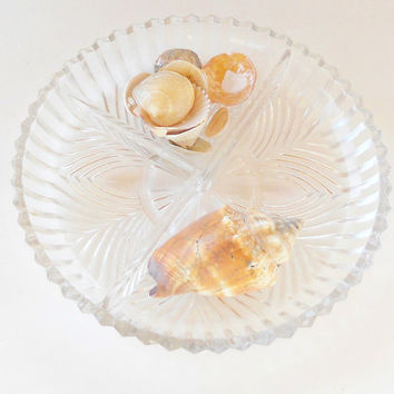 On Sale Vintage Cut Glass Divided Candy Dish - Vintage, Wedding, Tea Party, Mid Century, Clear Glass, Patterned Glass