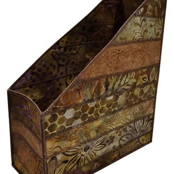 Home Storage Magazine Organizer in Brown Batik