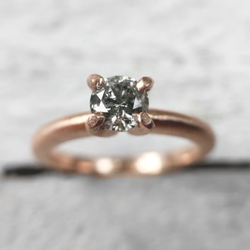 Tina - Gray diamond solitaire in 14k rose gold - Ready to ship - One of a kind - Celestial diamond