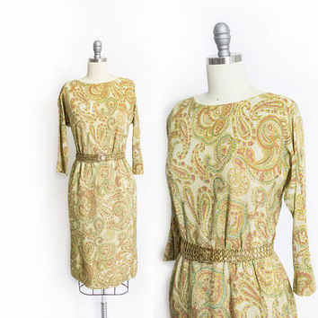Vintage 1960s Dress - Metallic Gold Lame Paisley Printed Wiggle Dress - Small