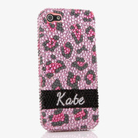 Baby Pink Leopard Personalized Name & Initials Design (style PN_1022)
