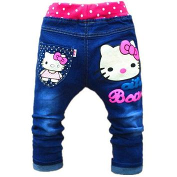 ESBONJ 2-5years Cute Cartoon Pattern Kids Jeans Autumn Lovely Cat High Quality Children Pants Casual trouses hello kitty girls jeans