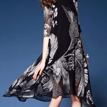 Womens Uneven Floral Chiffon Dress