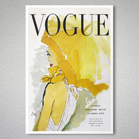 Vogue Cover July-August, 1950 Vintage Fashion Poster - Poster Paper, Sticker or Canvas Print