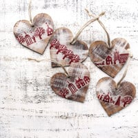 Wooden Christmas ornaments Christmas decoration vintage looking hearts boho rustic cottage chic shabby chic Scandi Scandinavian