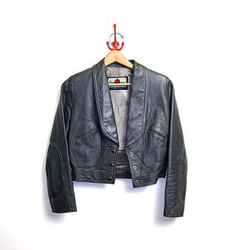 Vintage 60s leather cafe jacket. Grey leather motorcycle coat. Gray cropped leather jacket. Biker Coat. xs / small