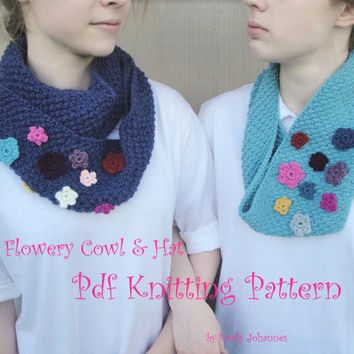Flowery Cowl & Hat, PDF Knitting Pattern, Cowl - Infinity - Hat - Headband with Crochet Flower Details