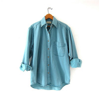 vintage denim shirt. faded green jean shirt. LL Bean washed out shirt.