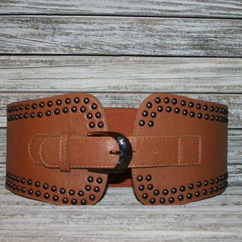 Wide Cinch Belt Vintage Brown Leather Studs Steampunk Wench Pirate Belt Stretch Belt Cognac Leather Belt Vintage Belt Small Womens Belts