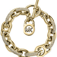 Michael Kors Gold-Tone Crystal Toggle Link Bracelet