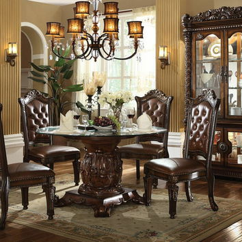 "Acme 62010 5 pc vendome iii cherry finish wood 54"" round glass top pedestal dining table set"