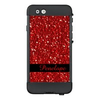 Scarlet Red Sparkly Glitter Bling Add Your Name LifeProof® NÜÜD® iPhone 6 Case