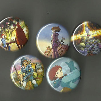 Nausicaa of the Valley of the Wind 1 Inch Pinback Buttons