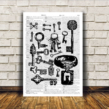 Skeleton keys poster Steampunk print Antique art Modern decor RTA33
