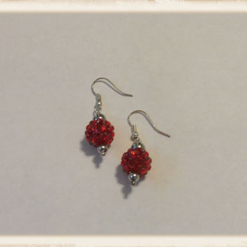 Red Pave Rhinestone Crystal Silver Beaded Dangle Earrings
