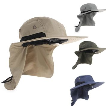 2015 New Boonie Fishing Boating Hiking Outdoor Snap Hat Brim Ear Neck Cover Sun Flap Cap Polyester Adjustable 55-63 cm 4 Colours