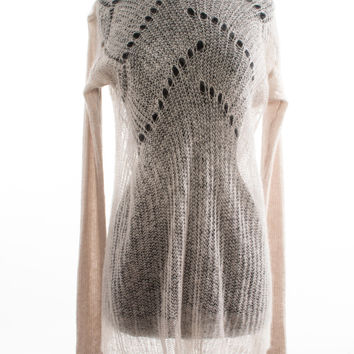 Pale Pink Mohair Loose Knit Sweater