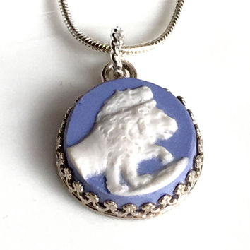 Lion Necklace Jewelry, Broken China Jewelry Pendant, Blue Wedgwood, White Lion