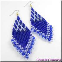 Native American Style Beadwork Seed Bead Earrings Fringe in Blue
