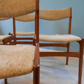 Mid Century Danish Modern Teak Dining Chairs Set of Four 4 Made in Denmark