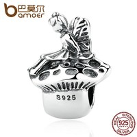 100% 925 Sterling Silver Cute Angle Above Mushroom Lovely Thread Charms Fit Women Bracelets Fashion Jewelry PAS387