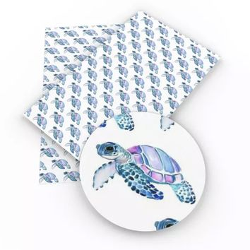 Purple & blue sea turtles faux leather fabric sheet