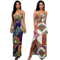 Sexy Robe Dashiki Bandage Split Vintage African Print Dress