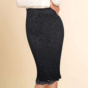 Vfemage Women Elegant Floral Lace High Waist Wear to Work Office Party Bodycon Fitted Skirt 1838