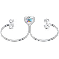 Sterling Silver 925 Aurora CZ Heart Double Toe Ring | Body Candy Body Jewelry