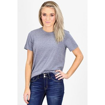 Basic Short Sleeve Heathered Tee {Navy}