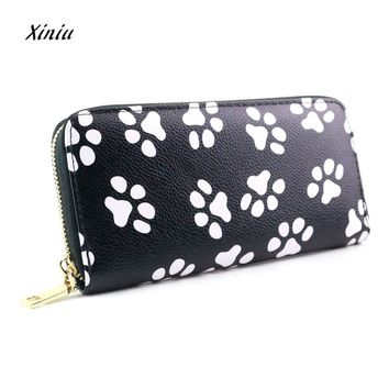 Women Wallet Fashion Clutch Smiling Face Paw Long Purse Wallet Card Holder Handbag Bag Dog Footprints Purse slim wallet