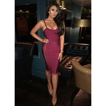 Janice- Lace Up Boydcon Bandage Dress