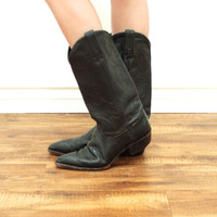 Vintage COWBOY Leather Black Dan Post Western Embroidered Midcalf Boots // Gypsy Boho Biker Hippie // Women's US 8 / 8.5