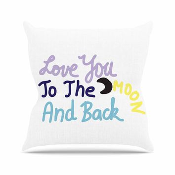 "Vasare Nar ""Love You To The Moon And Back"" Pastel Vector Outdoor Throw Pillow"