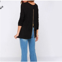 Design Back Zipper Design Loose Cotton Shirt B0014258