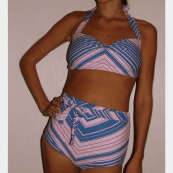 Retro Bathing Suit in Pink and Blue Chevron by temerson1 on Etsy